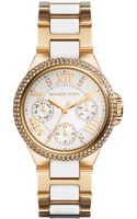 Michael Kors Womens Chronograph Mini Camille White and Goldtone Stainless Steel Bracelet Watch 33mm - Lyst