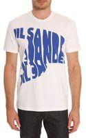 Jil Sander White Tshirt with Blue Print - Lyst