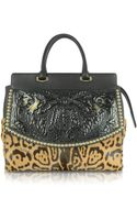 Roberto Cavalli Aphrodite Jaguar Printed Haircalf and Black Leather Tote - Lyst