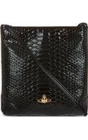 Vivienne Westwood Patent Snakeembossed Crossbody Bag Black - Lyst