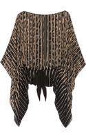Roberto Cavalli Leopard-print Silk-chiffon Kaftan-style Top - Lyst