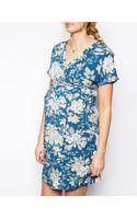Asos Maternity Kimono Dress in Blue Vintage Print - Lyst