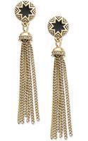 House Of Harlow Goldtone Black Sunburst Tassel Earrings - Lyst