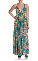 T-bags Printed Deep Vneck Maxi Dress - Lyst