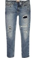 River Island Dark Wash Eddy Rip Straight Jean - Lyst