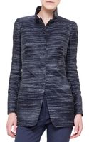 Akris Leather-trimmed Stand Collar Jacket - Lyst