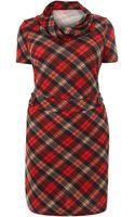 Samya A Line Tartan Dress with Cowl Neck - Lyst