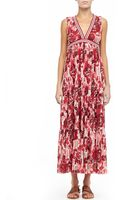 Jean Paul Gaultier Printed Jersey Maxi Dress Red - Lyst