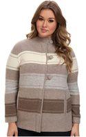 Pendleton Plus Size Alphine Stripe Boiled Wool Cardigan - Lyst