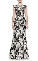 Oscar de la Renta Capsleeve Abstract Floral Gown - Lyst