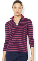 Lauren by Ralph Lauren Three Quarter Sleeve Striped Half Zip Top - Lyst