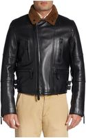 Burberry Prorsum Shearlingcollar Leather Bomber Jacket - Lyst