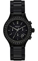 DKNY Chambers Large Ceramic Black Chronograph Watch with Glitz - Lyst