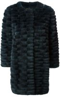 Yves Salomon Rabbit Fur Cropped Sleeves Coat - Lyst
