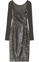 Donna Karan New York Sequined Stretchjersey Dress - Lyst