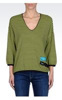 Armani Jeans Striped Cotton Oversized Sweater - Lyst