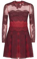 Valentino Chantilly Lace Pleated Dress - Lyst