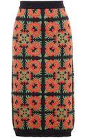 Tak.ori Flower Pattern Wool Alpaca Blend Pencil Skirt - Lyst