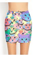 Forever 21 Multicolor Cat Print Skirt - Lyst