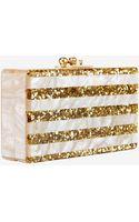 Edie Parker Glitter Stripe Jean Box Clutch Gold - Lyst