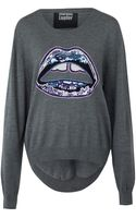 Markus Lupfer Grey and Blue Lara Joey Sequin Lip Jumper - Lyst