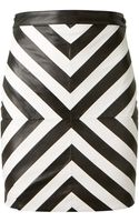 Saint Laurent Black and White Patchwork Leather Skirt - Lyst