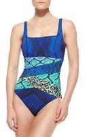 Gottex Emerald Boa Squareneck 1piece Swimsuit - Lyst