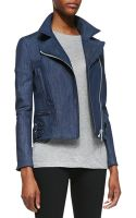 Victoria Beckham Joan Denim Biker Jacket - Lyst