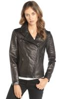 DKNY  Leather Jenna Quilted Detail Moto Jacket - Lyst