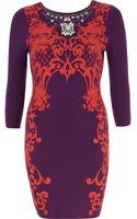 River Island Purple Puff Print Necklace Bodycon Dress - Lyst