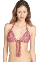 French Connection Coral and Blue Stretch Starry Night Halter Triangle Bikini Top - Lyst