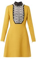 Gucci Leather-collar Embellished Crepe Dress - Lyst