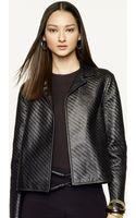 Ralph Lauren Black Label Woven Leather Jenica Jacket - Lyst
