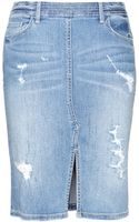 Marc By Marc Jacobs Distressed Denim Pencil Skirt - Lyst