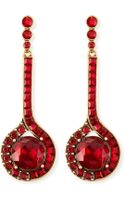 Oscar de la Renta Cardinal Red Crystal Drop Earrings - Lyst