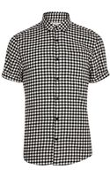 River Island Black and White Gingham Short Sleeve Shirt - Lyst