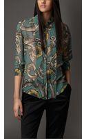 Burberry Vine Print Bowneck Shirt - Lyst