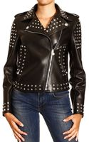 Versace Jacket Biker in Leather with Studs and Strass - Lyst