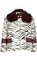 River Island Cream Zebra Print Faux Fur Jacket - Lyst