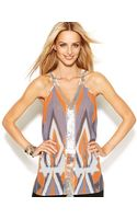 Inc International Concepts Embellished Printed Sleeveless Top - Lyst
