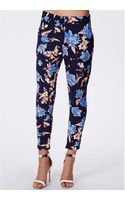 Missguided Gwen Floral Print Cigarette Trousers Navy - Lyst