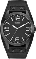 Guess Watch Mens Black Leather Strap 49mm - Lyst