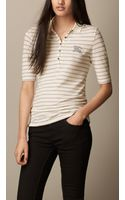 Burberry Slim Stripe Cotton Modal Polo Shirt - Lyst