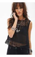 Forever 21 Sheer Lace Crochet Top - Lyst
