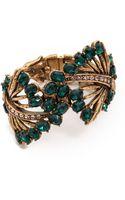 Oscar de la Renta Cutout Crystal Cuff Emerald - Lyst