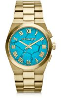 Michael Kors Midsize Channing Golden Stainless Steel Threehand Watch - Lyst