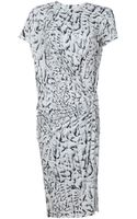 Helmut Lang Shirt Sleeve Printed Jersey Dress - Lyst