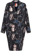 MSGM Floralprint Wool Coat - Lyst