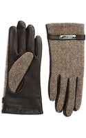 Lauren by Ralph Lauren Leather Herringbone Gloves - Lyst