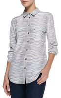 Equipment Slim Signature Printed Button-down Blouse Grey Medium6 - Lyst